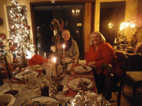 George and my niece Pam- at the table for Christmas dinner